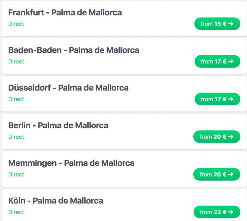 Ab 15 € nach Mallorca