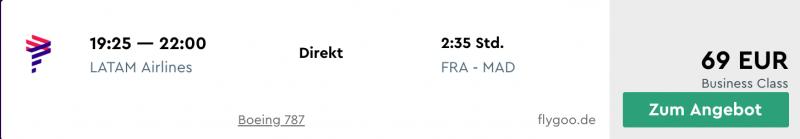Business Class günstig ab Frankfurt