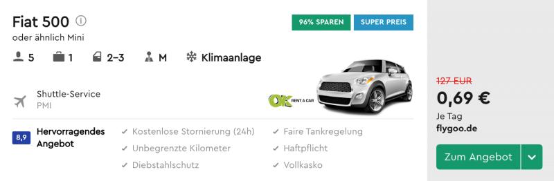 Mietwagena uf Mallorca für nur 69 Cent!