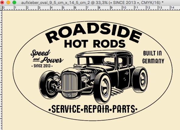 Roadside Hot Rods, Webseite, T Shirt und Aufkleber Design von Flying Piston Studios