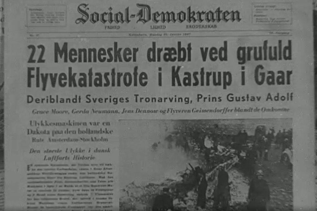 Forsiden af Social-Demokraten dagen efter flystyrtet