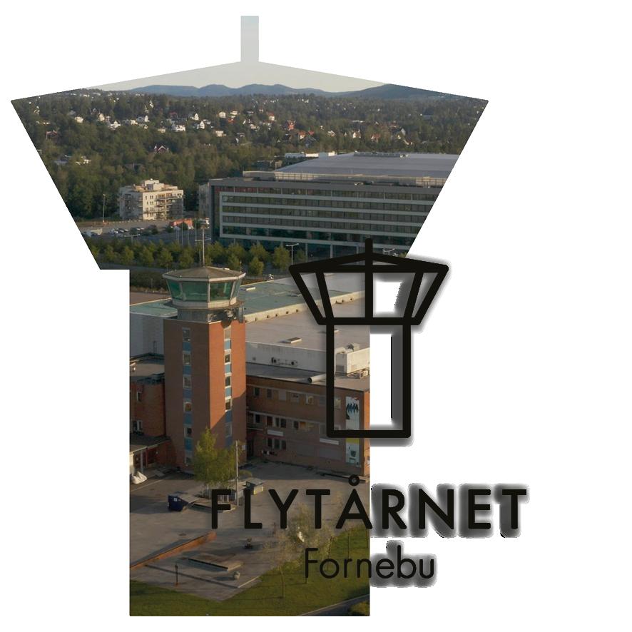 Flytårnet Fornebu i flytårnomriss og med Flytårn-logoen