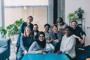 Enkele deelnemers van Hallo micro, een project van FMDO vzw. CR Charlotte Vandendwije