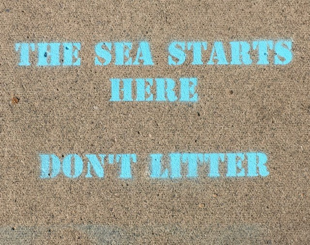 The sea starts here campaign - chalk sign