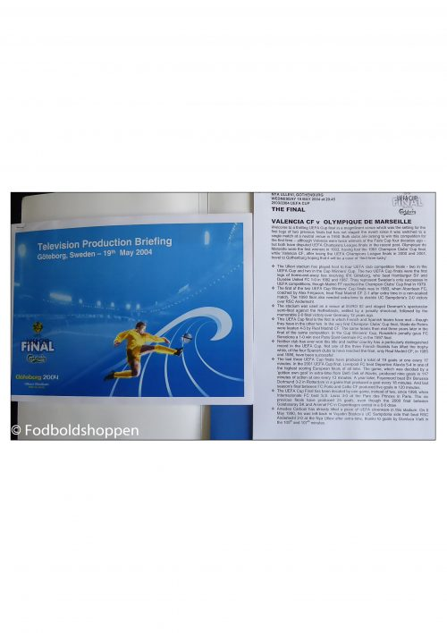 UEFA CUP Finale Göteborg 2004 - Pressemateriale - Valencia - Marseille