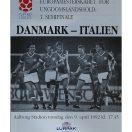 Kampprogram U-Landshold 1. Semifinale - DK - Italien 1992