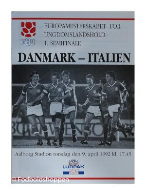 Kampprogram U-Landshold 1. Semifinale – DK – Italien 1992