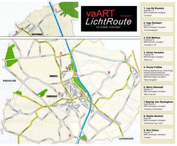 VaART LichtRoute Zomergem © Locaties kunstwerken