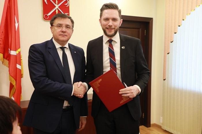 Venskabsbyaftalen blev underskrevet i Sankt Petersborg.