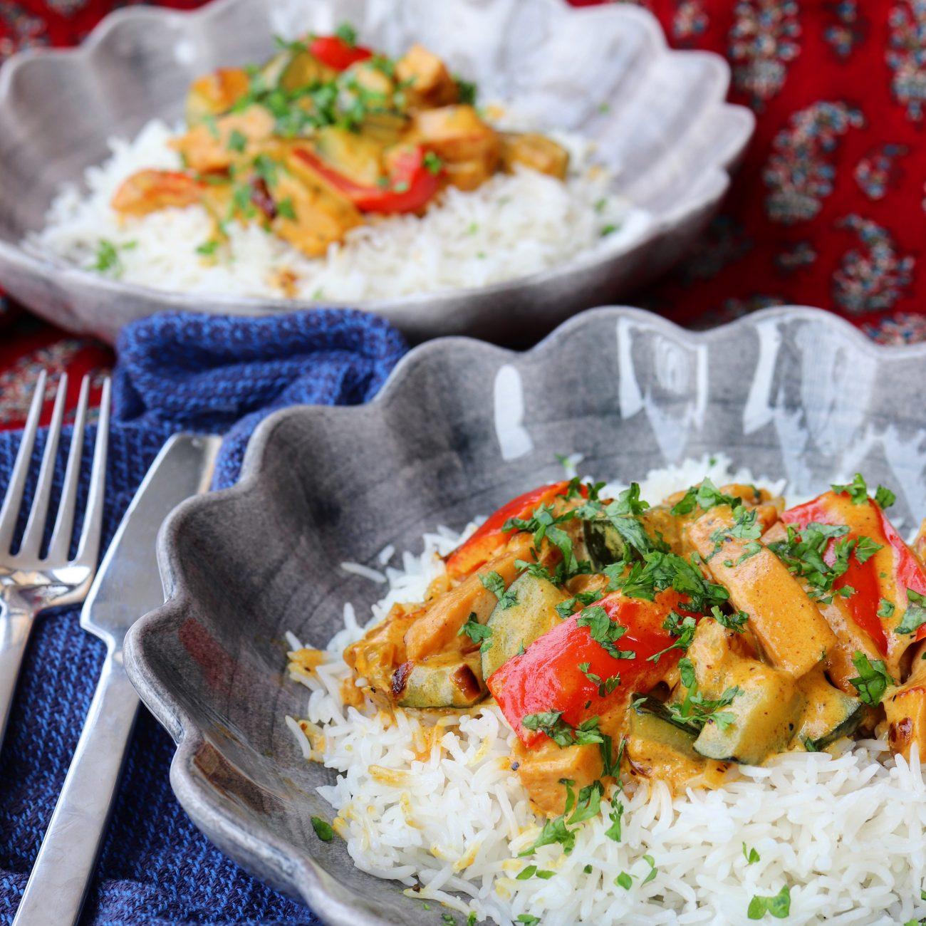 Kalkonkorv stroganoff med curry