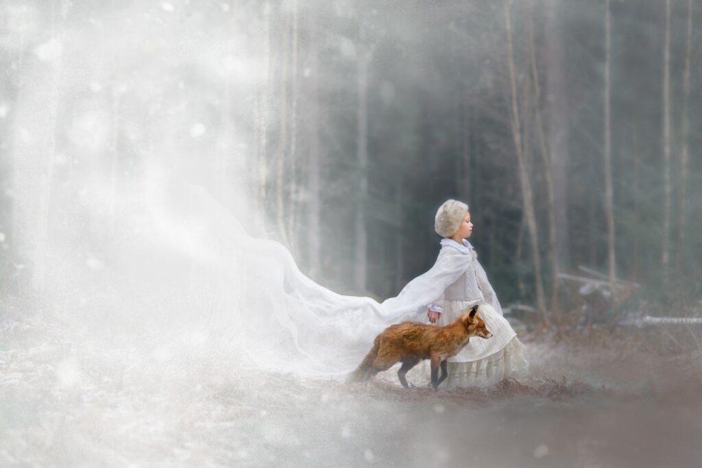 Sagofotografering Vinter fox Fotograf Maria Lindberg
