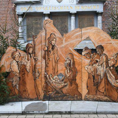 Kerstal aan de kerk in Wetteren Stuifduin wandelroute Wetteren