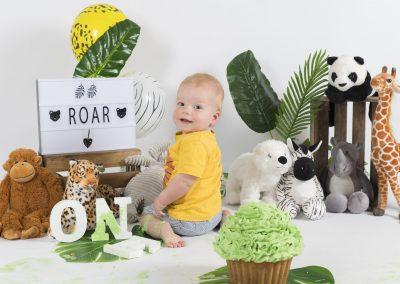 Jungle 1 jaar Cake Smash Den Bosch Bij fotostudio Difa in Den Bosch
