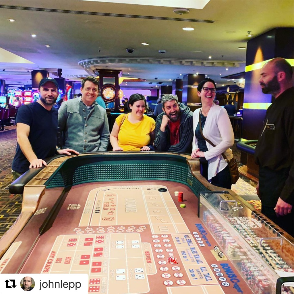 From left: John Lepp, Mark Phillips, Beate Sørum, Simon Scriver and Jen Love stand in front of a craps table in Vegas