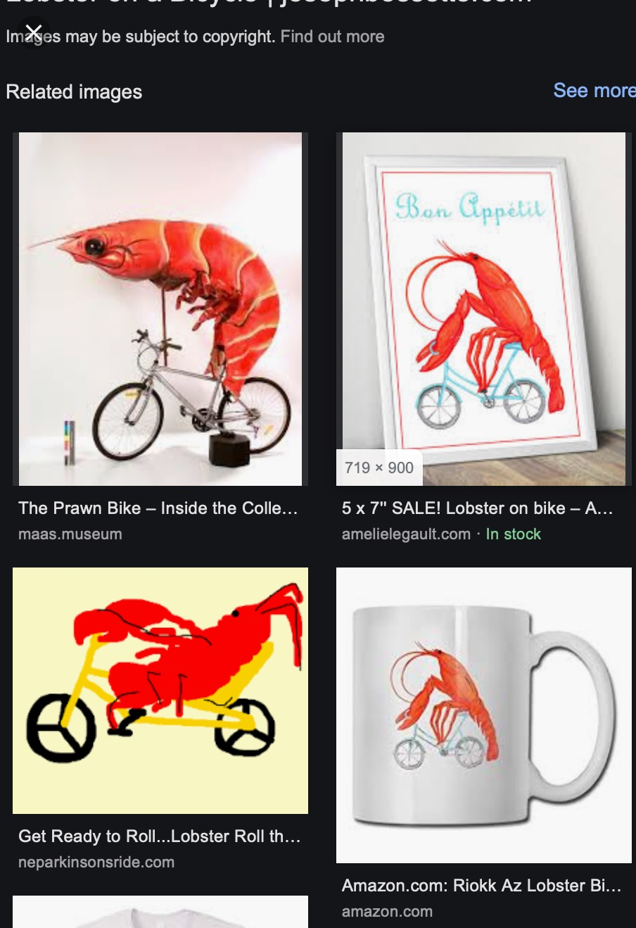 Screenshot from google images showing lobsters on a bike