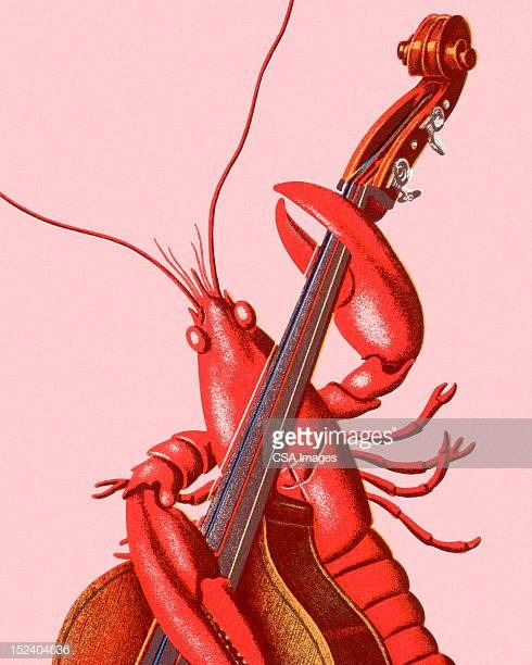A drawing of a lobster playing a violin but holding it like a big bass (the instrument, not the fish)