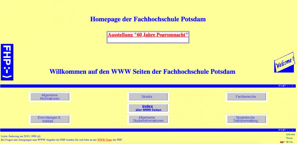 Homepage der Fachhochschule Potsdam, 1998