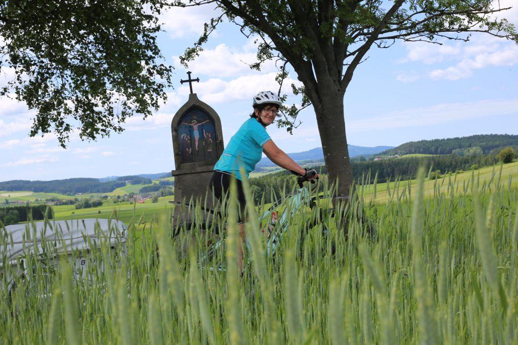 Marterl in Rainbach, Vorne Getreidefeld, Elke
