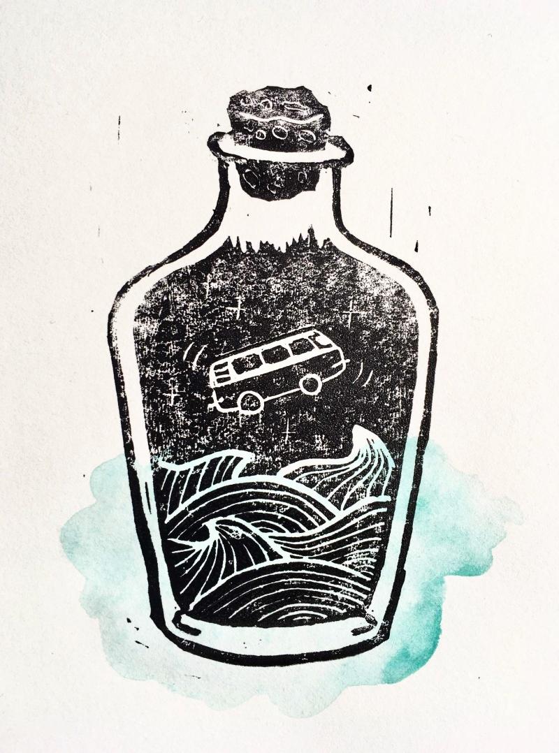 Linoldruck in a bottle