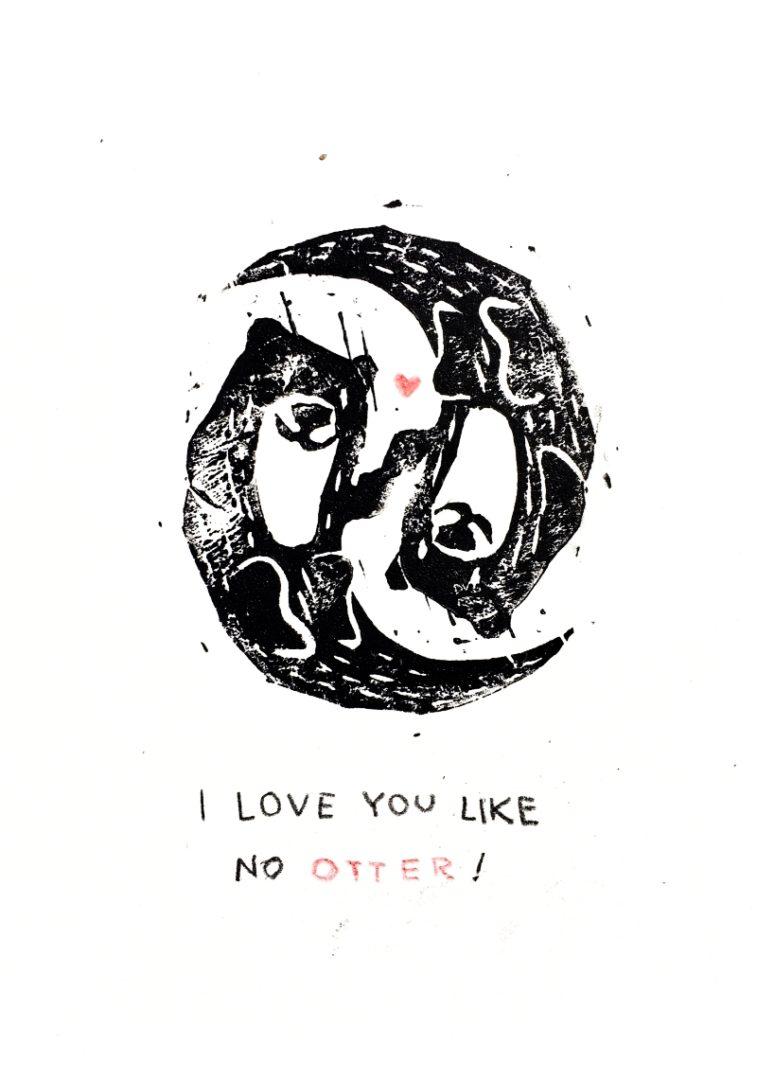 Linoldruck otter
