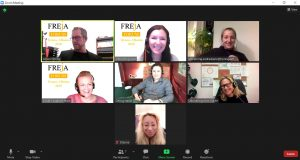7 people on screen in digital meeting, all laughing, in their homes.