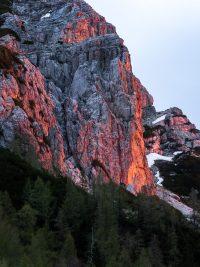 Alpen glow Slovenien.