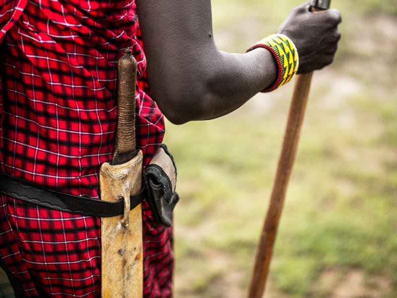 Masai vandringspinne och kniv.