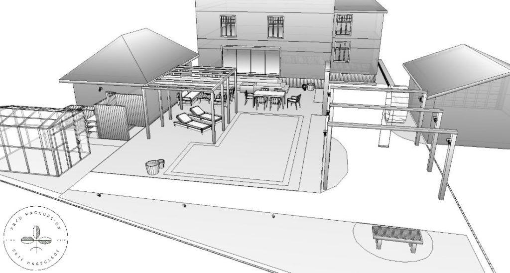 Hageskisse 3D svart hvitt mot huset