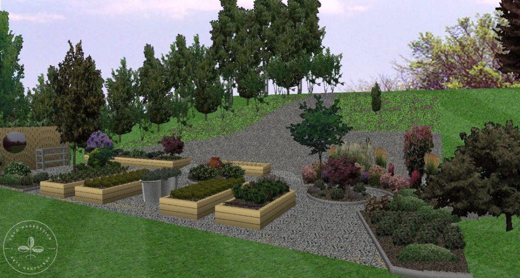 3D plan i farger, hage i skogkanten