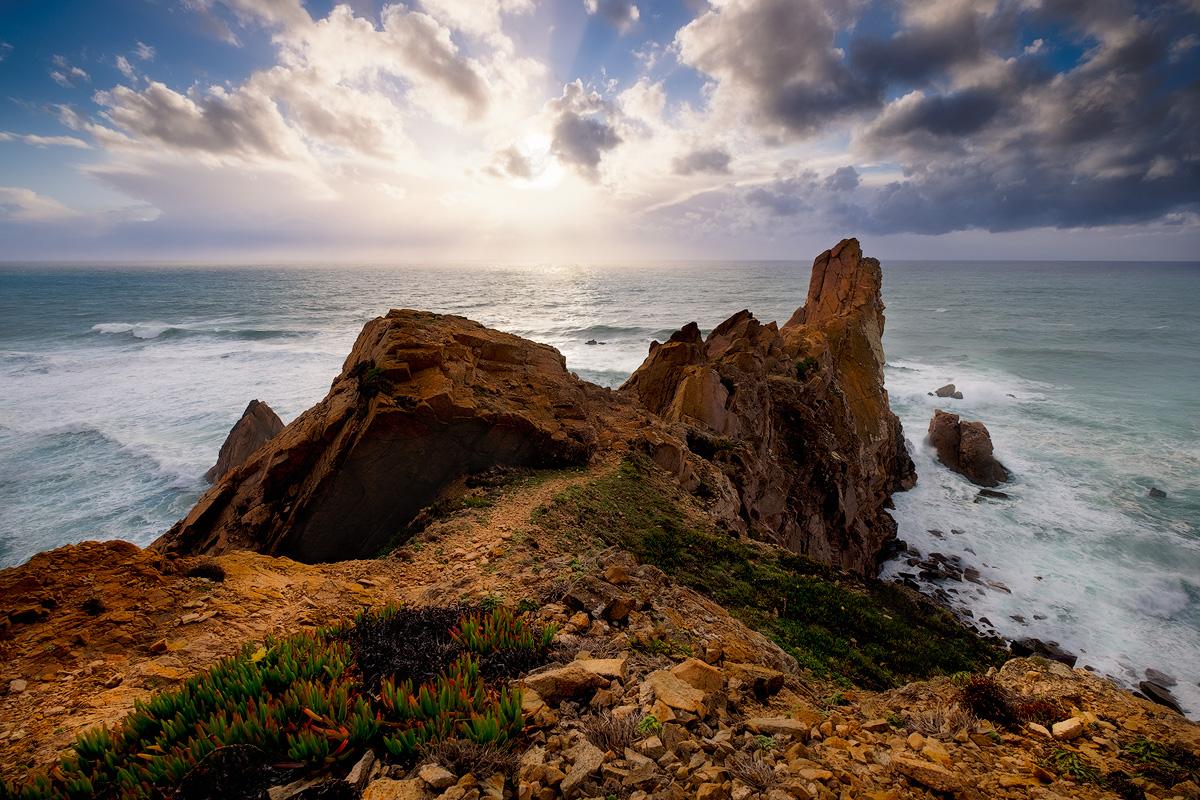 "The cliffs and headland above Praia da Aroeira Fuji X-T1 . Fuji XF10-24mmF4 @ 10mm . f/8 . 1/500"" . ISO 200"