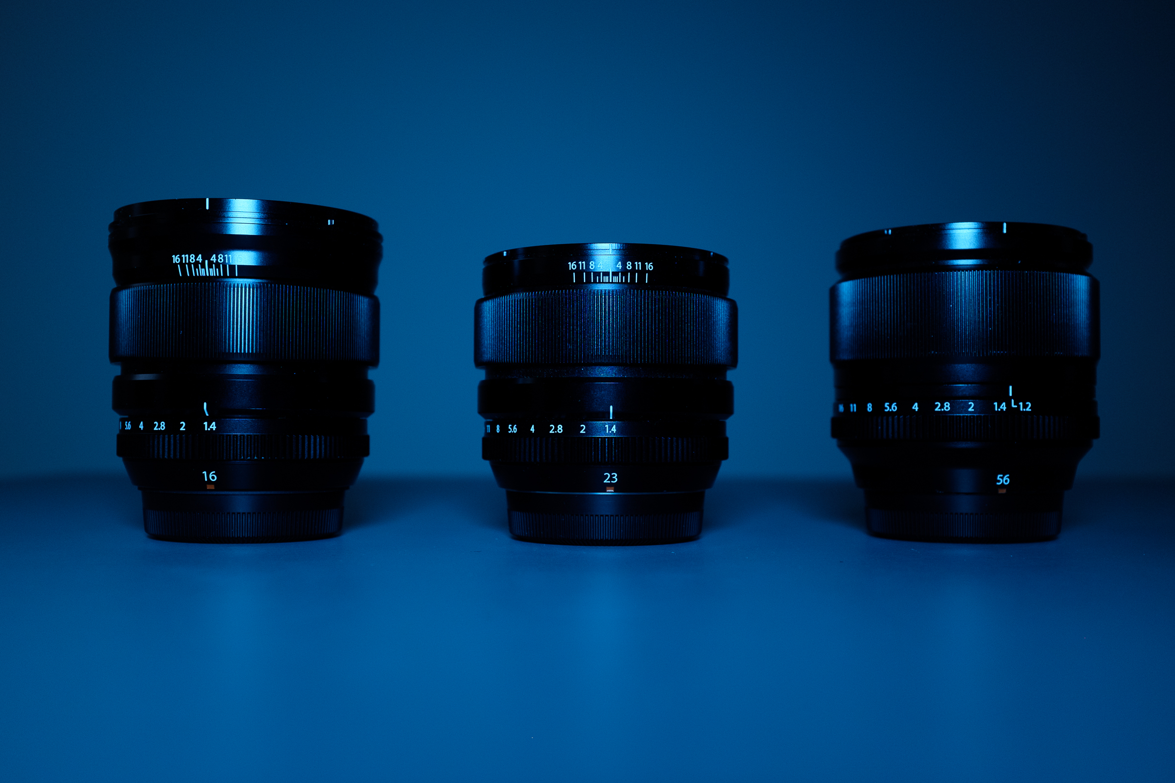 XF16 – XF23 – XF56 Above pictures are taken playing around with a blue led panel and an X100S…