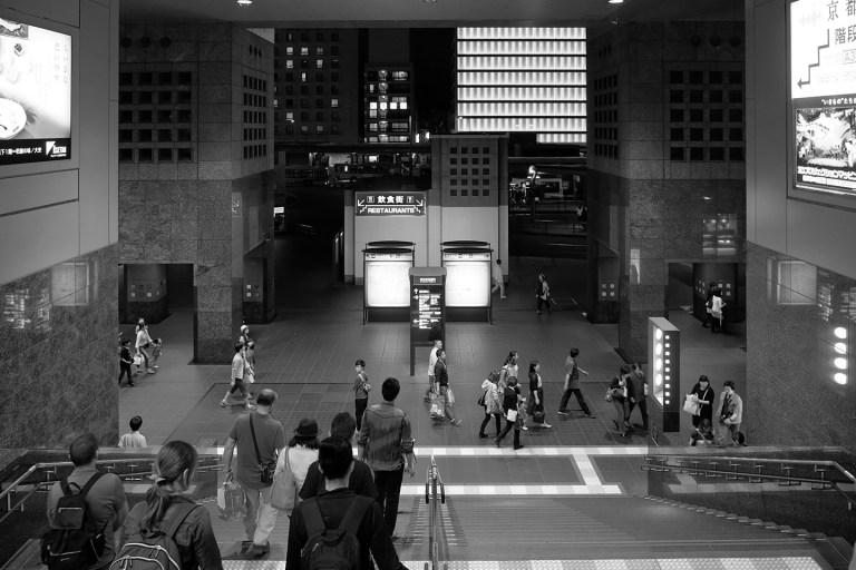 Fujifilm X-T1 + XF 16-55mm WR, @16 mm, F2.8, ISO 1000, 1/40 sec, hand-held. Kyoto Station, Kyoto, Japan.