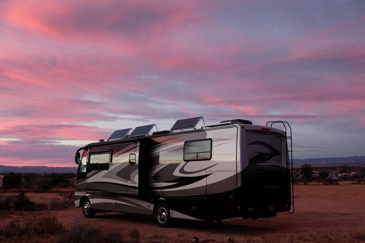 Our RV home on wheels at a campsite near Sedona, Arizona.