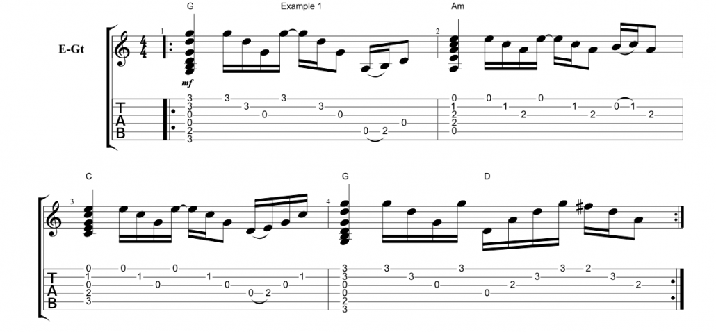 Play-Like-Slash-Example-1-Open-Chords - Fundamental Changes Music Book Publishing