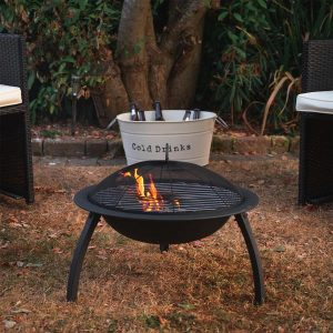 Product Overview Dimensions: 34L x 34W x 21H in. Includes fire pit and mesh cover Glass fiber-reinforced cement and iron construction Wood-burning fire pit No assembly required
