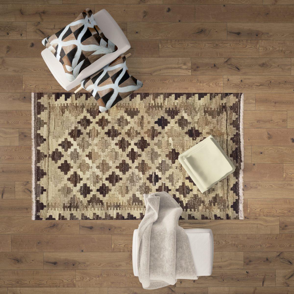light colored kilim mat