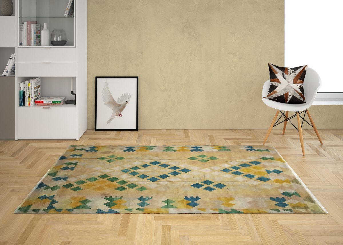 modern crochet kilim rug