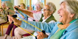 Illustratie van bewegende ouderen