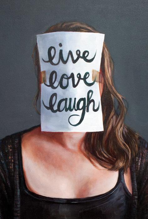 Tuulia Iso-Tryykäri: Live Love Laugh, öljyväri kankaalle, 2020, 60 x 50 cm