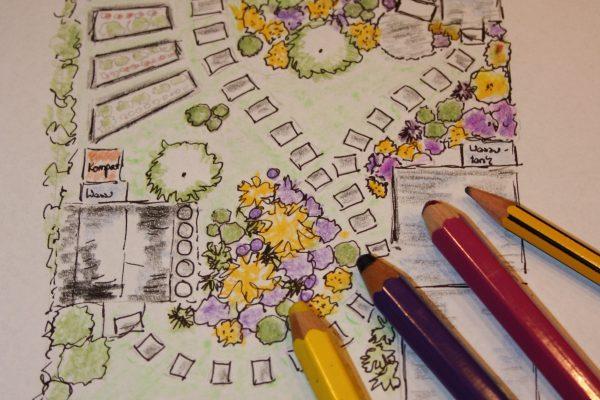 Zeichnung Gartengestaltung