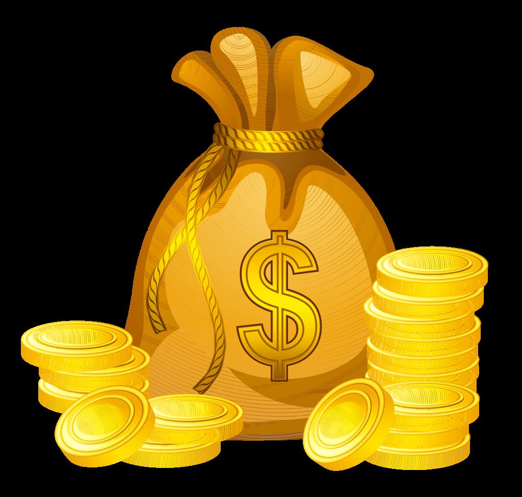 Pila de dinero de dibujos animados por el escaneo del centro comercial
