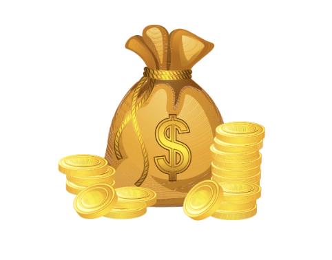 Pila de dinero de dibujos animados por el escaneo del hotel