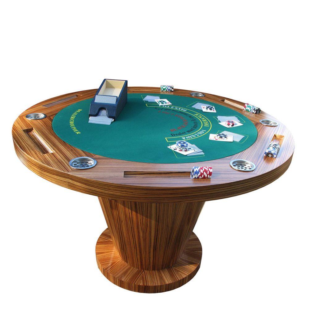 Zebrano Poker Table & Blackjack Table