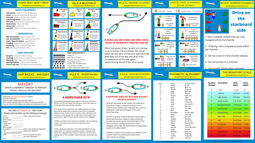 Knowldege cards for RYA Essential Navigation & RYA Day Skipper