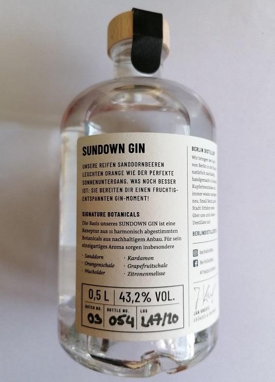 Sundown Gin Berlin Distillery Flasche