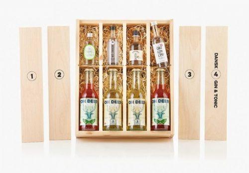 Kasse med forskellige gin fra Smageklubben