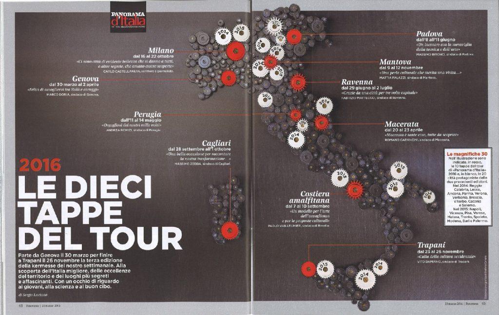 Pagine della rivista Panorama con le tappe del Tour dal 2014. In rosso le 10 città coinvolte quest'anno.