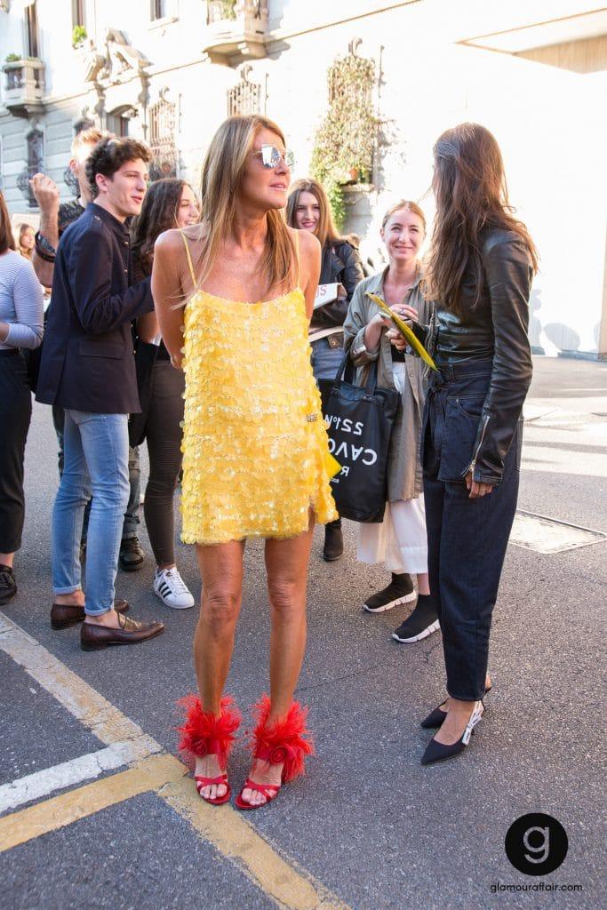 Outfit Anna Dello Russo fuori dalla sfilata di Prada