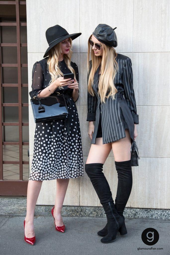 street style e outfit fuori dalla sfilata di Prada