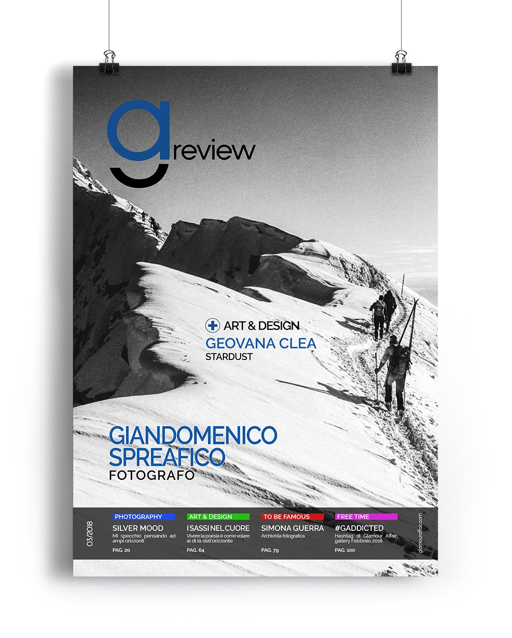 Copertina GAreview di Marzo, magazine fotografico online di glamouraffair.com